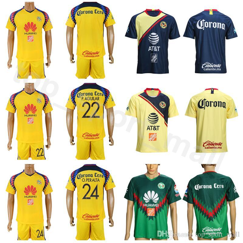 add0c7b5b9a 2019 FC Club America Soccer Jersey Set AGUILAR PERALTA DOMINGUEZ 8 URIBE 7  MENEZ Mexican League Football Club Shirt Kits With Short From  Dickssportinggoods, ...