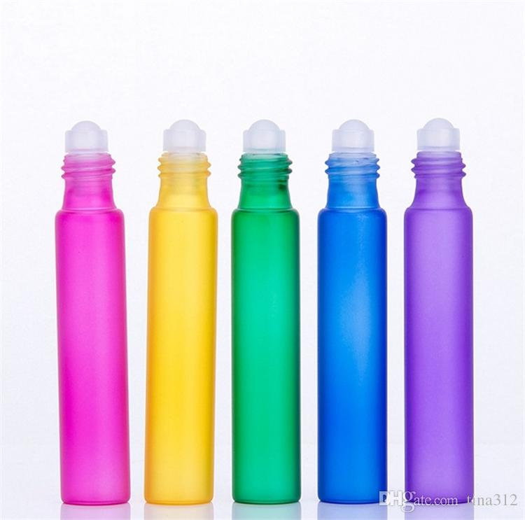 جديد ملون 10 ملليلتر لفة على الزجاج الضروري النفط زجاجة عطر المقاوم للصدأ الرول الكرة العطر زجاجة 500 قطع f0028
