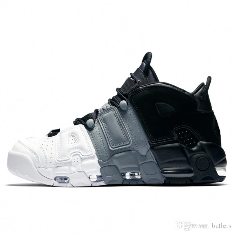 9d428c4a862c9 2019 2018 Air More Uptempo Mens Basketball Shoes Black White Grey Stitching  Color Male Shoes Designer Athletic Sneakers US 7 12 From Butlers