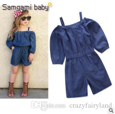 00f86722a216 2019 Denim Jumpsuit Outfits Baby Onesies Romper Off Shoulder Long Sleeve  Newborn Baby Girls Shorts Clothes Infant Toddler Overalls Bebe Clothing  From ...