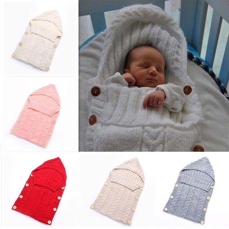 da5e9393658b Newborn Baby Wrap Swaddle Crochet Blanket Kids Toddler Wool Knitted ...