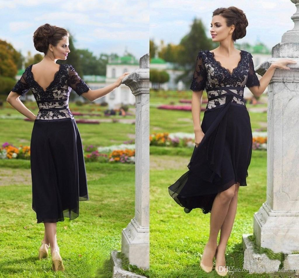 A Line Chiffon Mother of the Bride Dresses Cheap 2019 V Neck Lace Short Sleeves Zipper Back Wedding Party Gowns