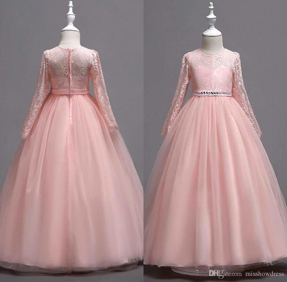 3693e6e81e55 Cute Lace Little Kids Infant Flower Girl Dresses Princess Jewel Neck ...