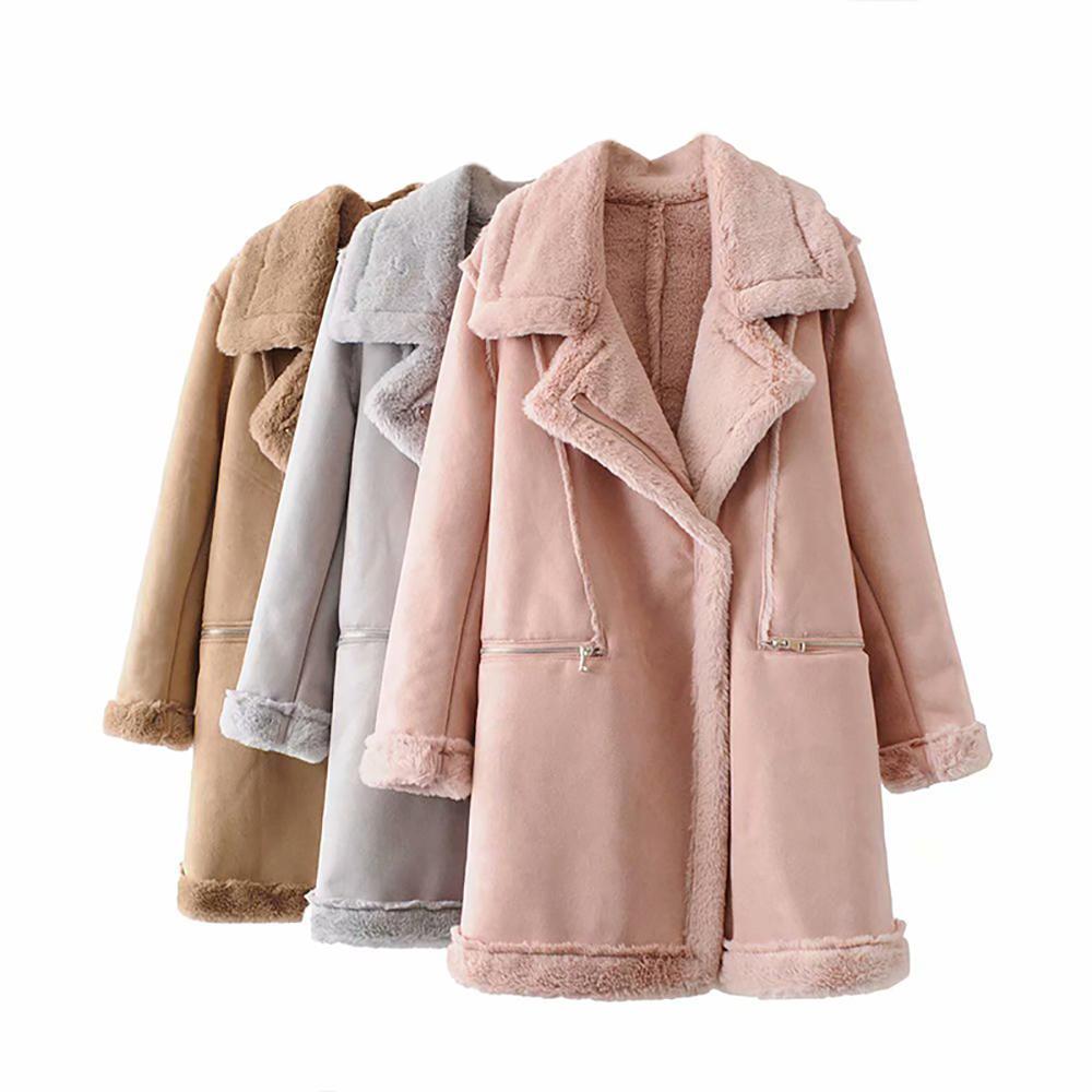 new style 6778c f8770 Giubbotto da donna in pelle scamosciata invernale da donna da motociclista  in pelliccia di agnello lungo cappotto in pelle da donna colore rosa caldo  ...