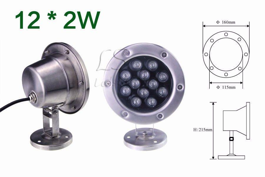 6W / 12W / 18W / 24W / 30W / 36W Rouge Vert Bleu IP68 CREE LED Aquarium Sous-Marine Piscine Fish Tank Lampe Spot RVB 12V