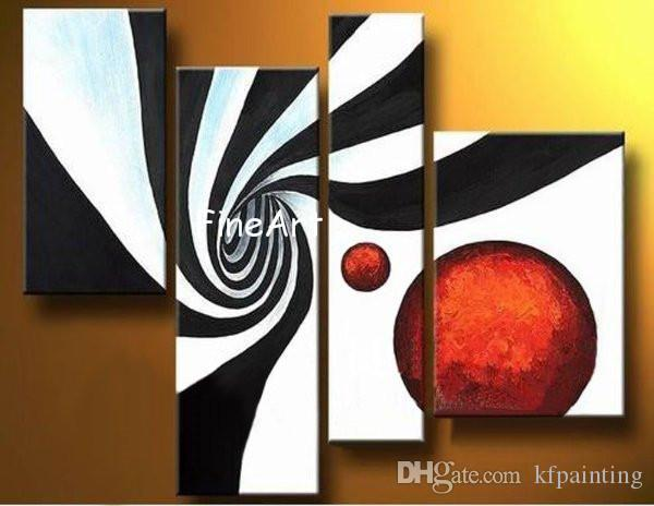 529bca49526 2019 Handmade Oil Painting Wholesale 4 Panels Red Black White Abstract  Painting 4 Panel Wall Art Fine Art Paintings Modern Sofa Set Design From  Kfpainting