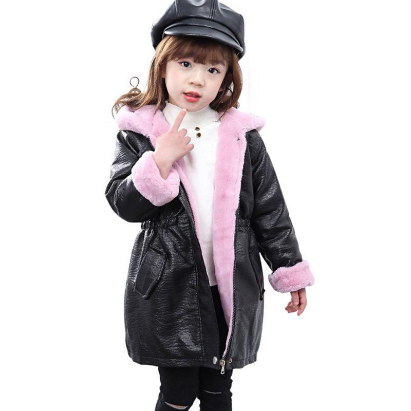 903535d3d160 Girl Kids Fashion Pu Leather Jacket Coat 2018 New Winter Autumn ...