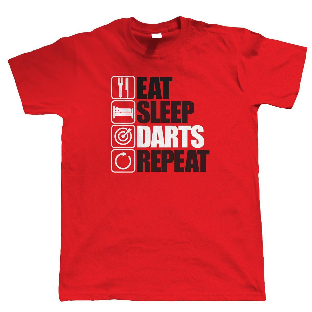Eat Sleep Darts Repeat, Mens Funny Games T Shirt, Gift Dad