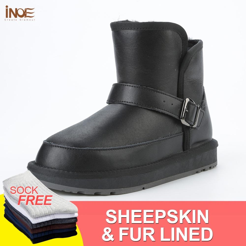 5b4bd2d6b INOE New Casual Sheepskin Leather Wool Fur Lined Men Winter Ankle Snow Boots  Flats Short Winter Shoes Non Slip Sole Waterproof Designer Shoes Rain Boots  For ...