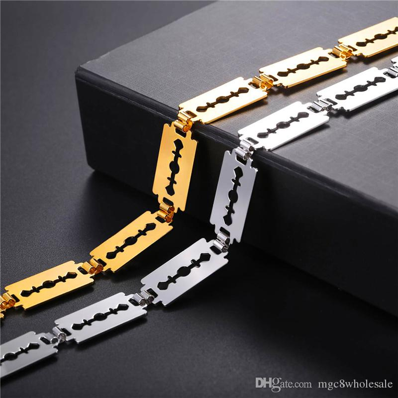 U7 Fashion Razor Blade Choker Necklace Gold/Silver Color Adjustable Collar Rock Razor Blade Jewelry For Women N2767