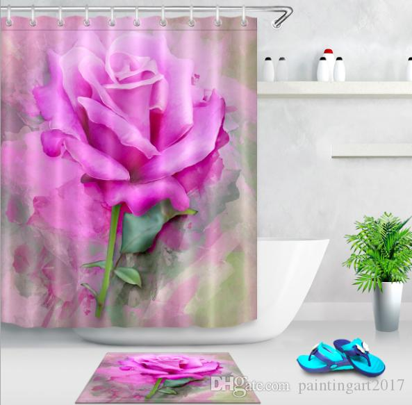 2019 Pink Rose Shower Curtain Flowers Customized Waterproof Polyester Fabric For The Bathroom With 12 Hooks Bath Mats From