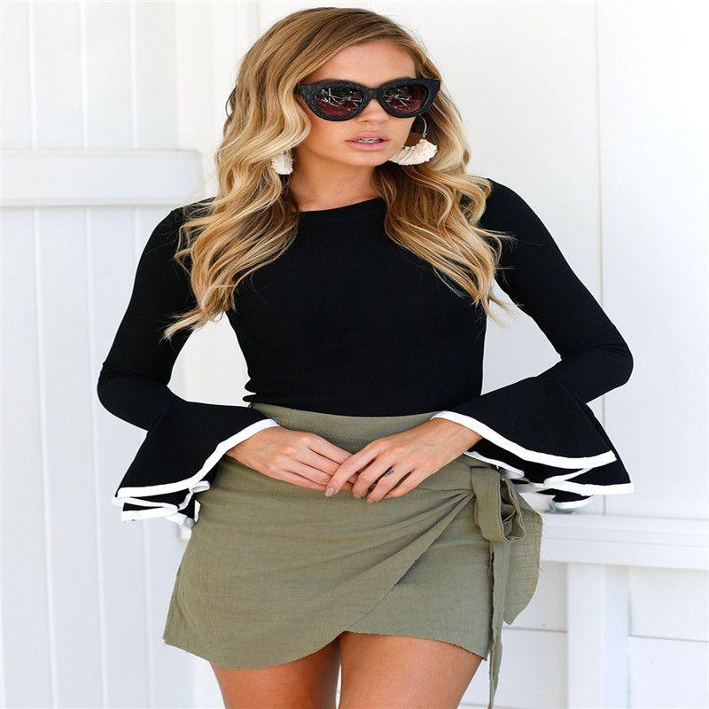 6308cbf90a7ca US Ropas Autumn Tops T-Shirt Women Sexy Korean Long Flare Sleeve ...