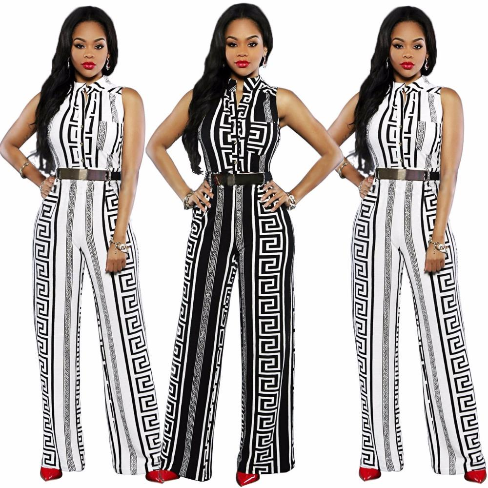 825b7e3d5d8 2019 Fashion Long Jumpsuits For Women Black White Print Gold Belted Jumpsuit  Fashion Sexy Female V Neck For Ladies Playsuit From Michalle