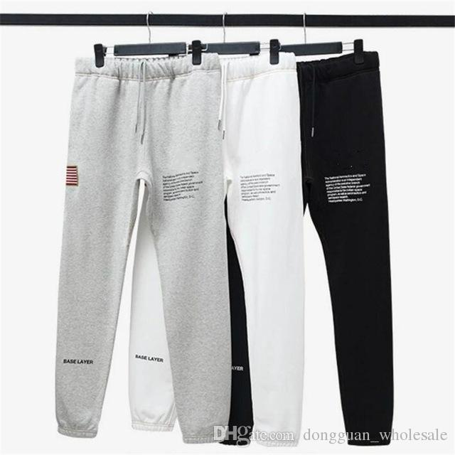 bf3f5ad078079 Winter Men Embroidered Flag Fleece Sweatpants Letter Print ...