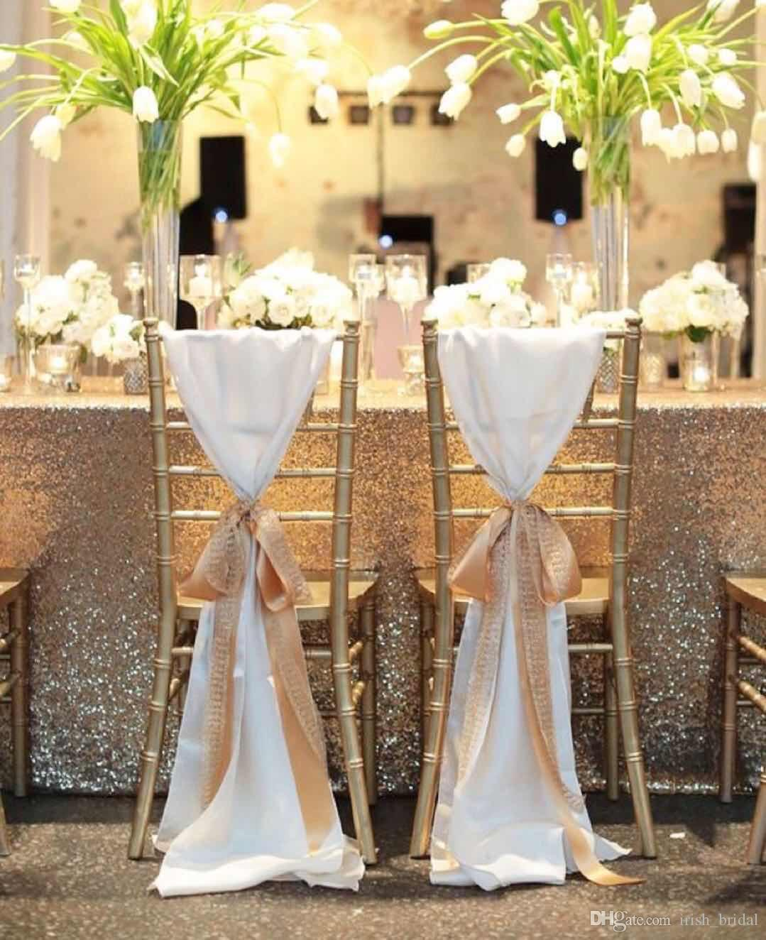 New Coming White With Ribbon Ronamtic Mediterranean Classic Beautiful Custom Made Wedding Supplies Wedding Events Chair Sash