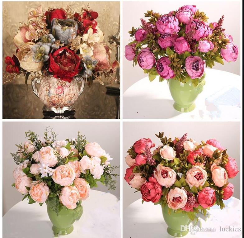 18dcfa78280 Luyue 13 Branch/Bouquet Vintage Artificial Flowers Peony Vivid Flores  Artificiales Fake Silk Rose Bridal Wedding Decor Wreath Gland Home