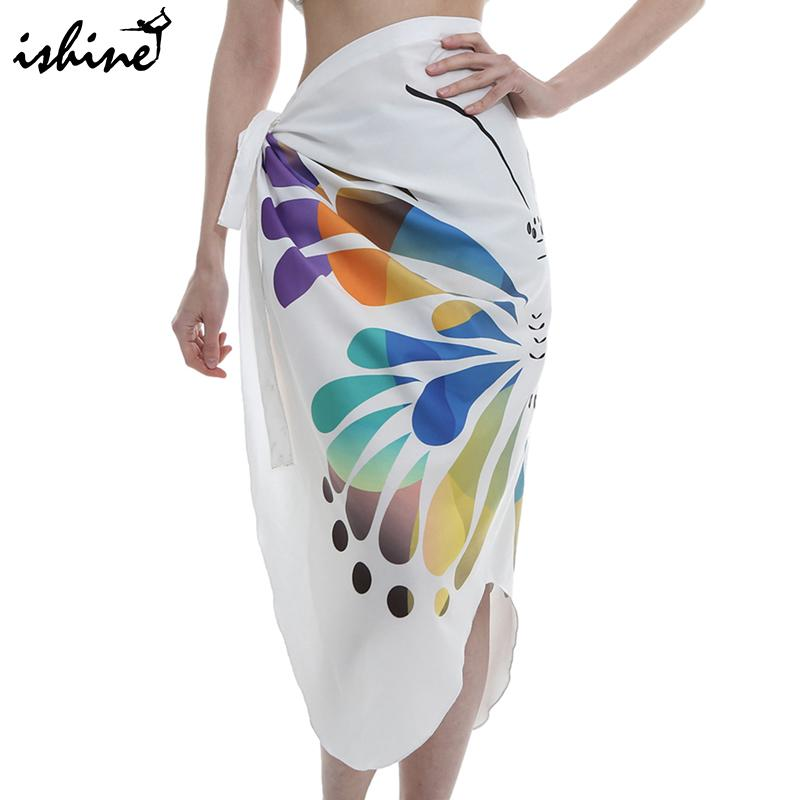 55ce95341008a 2019 Butterfly Print Bathing Suit Women Beach Skirt Cover Up Swimsuit Cover  Up Sarong Wrap Summer Beach Dress Tunic Swimwear Women From Chenhanyang163,  ...