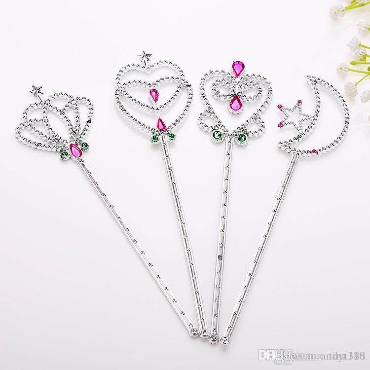 Fairy Princess Magic Wand Sticks Crown Heart Start Shape Fancy Cosplay Props Kid Girl Birthday Party Favor T2I021