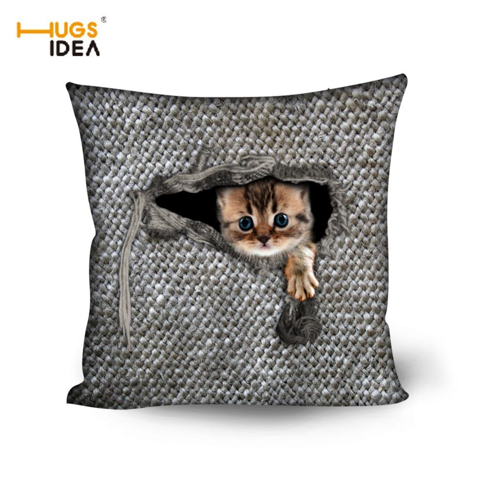 Cojines Animal Print.Hugsidea Animal Cat Owl Throw Pillow 3d Cute Printing Cojines Home Decor Pillows For Bedroom Chair Fashion Seat Cushion Almofada