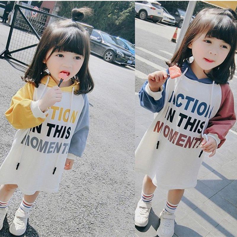 8a667b842203f Satın Al 2018 Sonbahar Bebek Kız Kazak Elbise Çocuklar Mektuplar Baskılı  Uzun Kollu Kapşonlu Tops Çocuk Hoodies Elbiseler 14052, $58.8 |  DHgate.Com'da