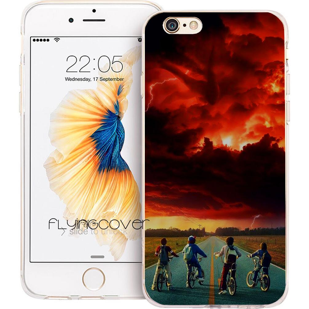 cheap for discount f7df7 8d921 Stranger Things Red Glow Clear Soft TPU Silicone Fundas Cases for iPhone 10  X 7 8 Plus 5S 5 SE 6 6S Plus 5C 4S 4 iPod Touch 6 5 Cover.