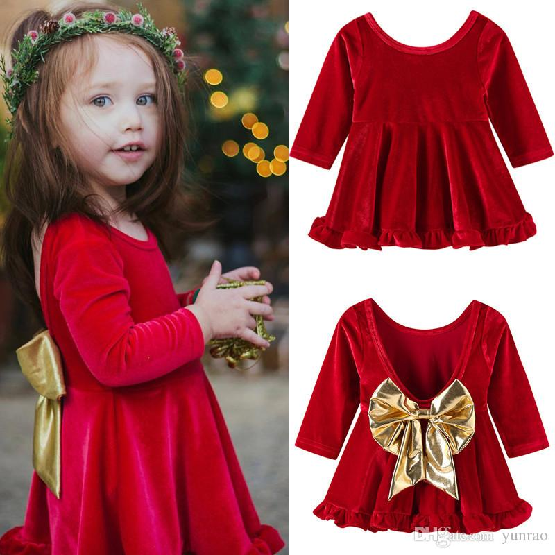 5b371d6a9 2019 Christmas Dress For Baby Girls Red Backless Dresses With Gold ...