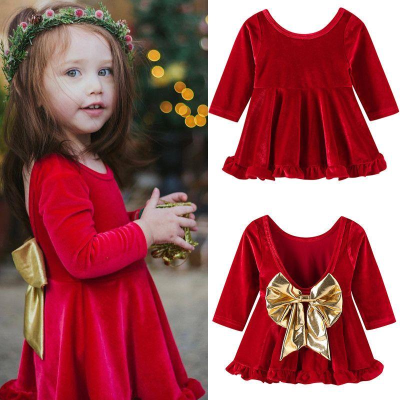 61c4e9d041da Vestido de Navidad para niñas Vestidos sin espalda rojos con lazo dorado  Cumpleaños de los niños Princesa Vestido de manga larga 1 2 3 4 5 años