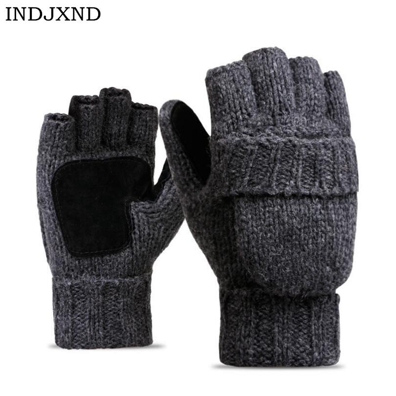 2018 Unisex Plus Thick Male Fingerless Gloves Men Wool Winter Warm Exposed Finger Mittens Knitted Warm Flip Half Finger Gloves D18110705