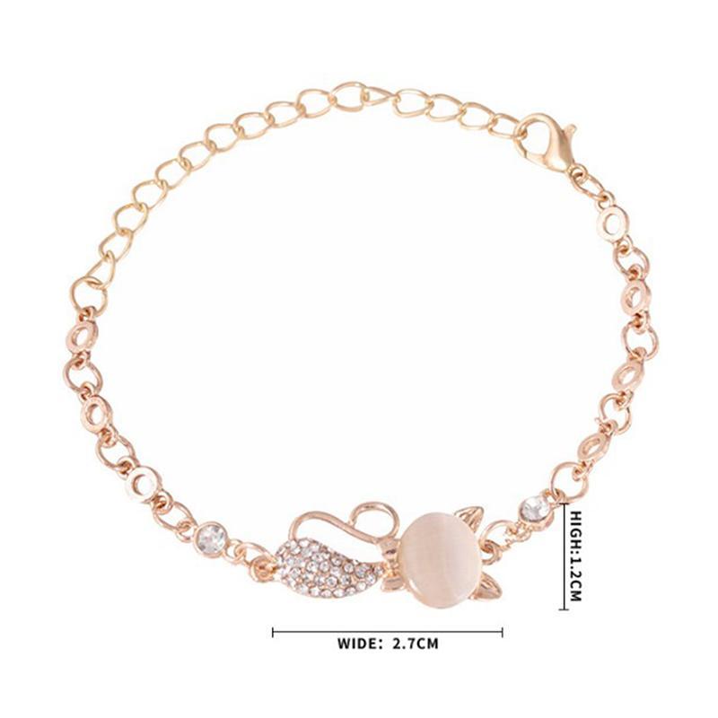Hot Trendy Jewelry Rose Gold Cute Zircon Cat Bracelets Charms Bracelets  Bangle For Women Children Girl DIY Jewelry Gifts