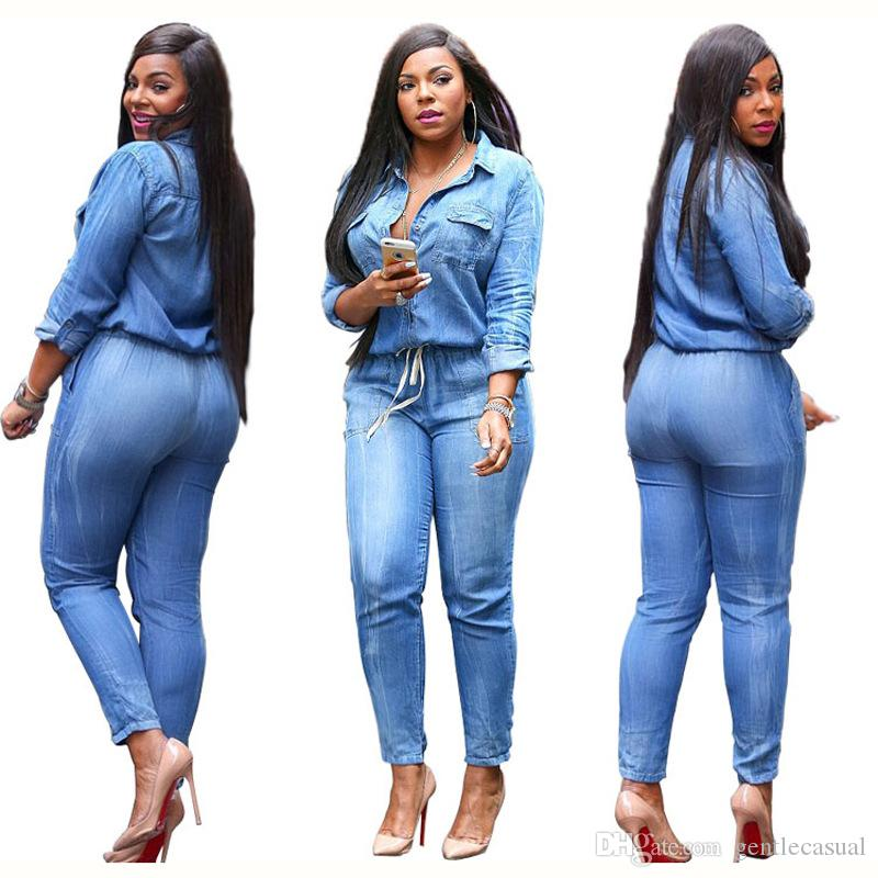 748e45753fba 2019 Sexy Plus Size Jumpsuits For Women Clothing Spring Denim Jean Rompers  Strings Long Pants Rompers From Gentlecasual