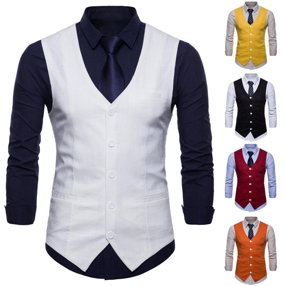 2019 Mens Double Breasted Vest Men Dress Suit Vest Men Formal Grey