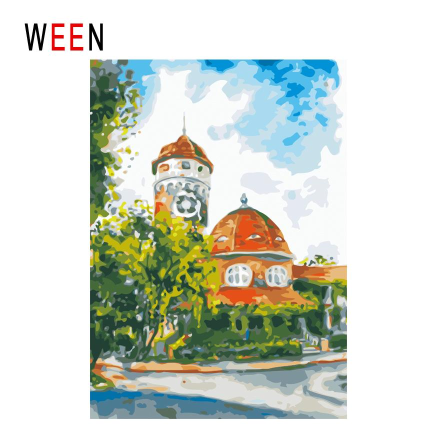 Ween Stadt Himmel Diy Malen Nach Zahlen Abstrakte Straße ölgemälde Auf Leinwand Baum Haus Cuadros Decoracion Acryl Wandkunst Geschenk