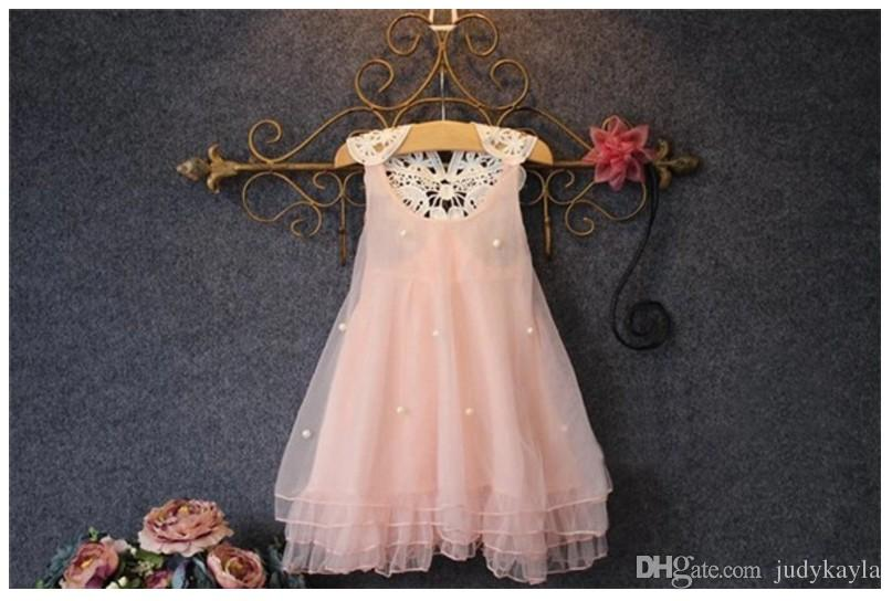 6cecec85c7b3 2018 New Baby Girl Lace Tulle Princess Dress Kids Beaded Lace Gauze Dresses  Girls Sleeveless Vest Dress Lovely Children Lace Net Yarn Skirt Girl Dress  ...