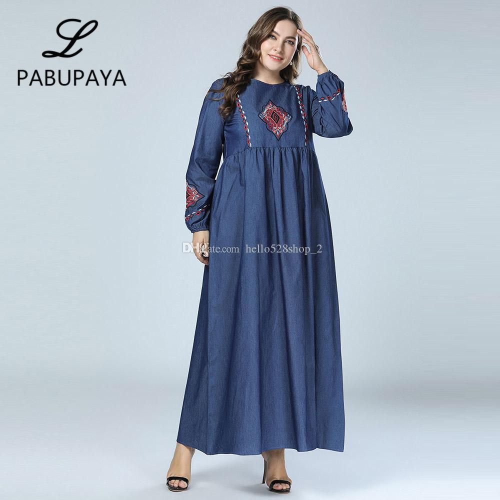 98728f3540 Ladies Formal Denim Long Sleeve Maxi Dress Vintage Muslims Robe Kaftan  Islamic Clothing Turkey Apparel Womens Loose Robes Dresses For Evening  Party Party ...