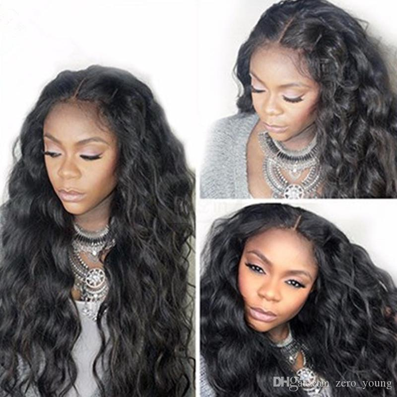 Hair Peruvian Body Wave 100% Human Full Lace Wigs With 130% Density Baby Hair 8-26 inch Remy Hair Natural Color