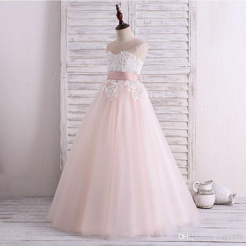 Vestidos para niñas de flores para bodas Cumpleaños Vestidos de comunión Vestido de gala de tul Vestido formal para niñas