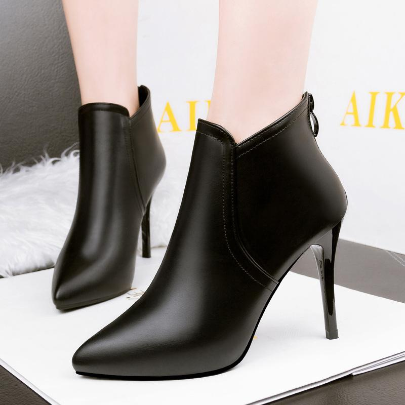 Sexy Pointed Toe Stiletto Heel Boots Women s Leather Pumps Shoes ... b981f810e7c4