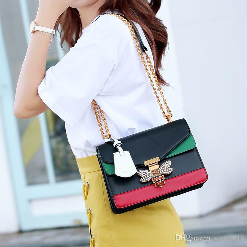 HEIßER VERKAUF 2019 Frauen Farbe spleißen Kleine Biene Taschen Mode Reißverschluss Designer Handtasche Casual Schulter Umhängetasche Neue Sac Femme