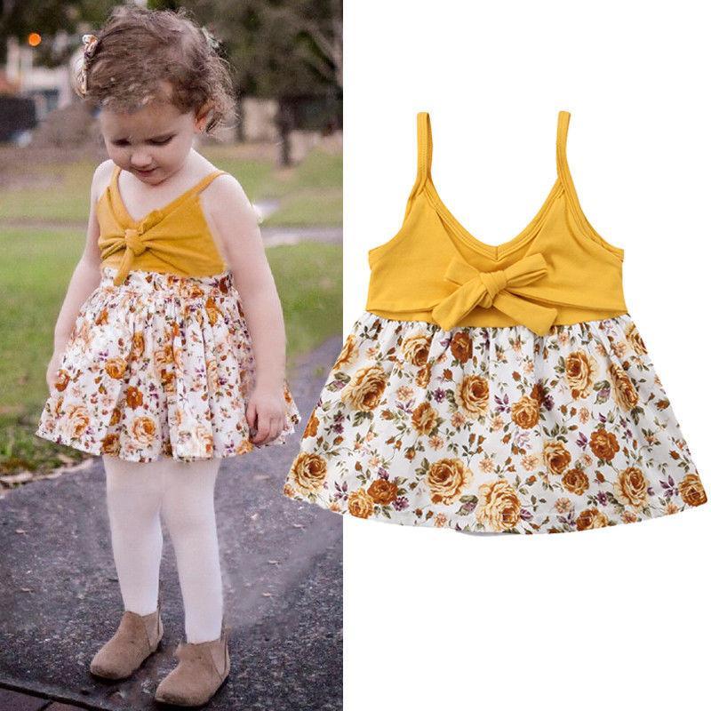 8c33b78ee6e 2019 0 24M Princess Pretty Toddler Baby Girls Dress Sleeveless V Neck  Bowknot Floral Print Knee Length A Line Sundress Romper Dress From Bosiju