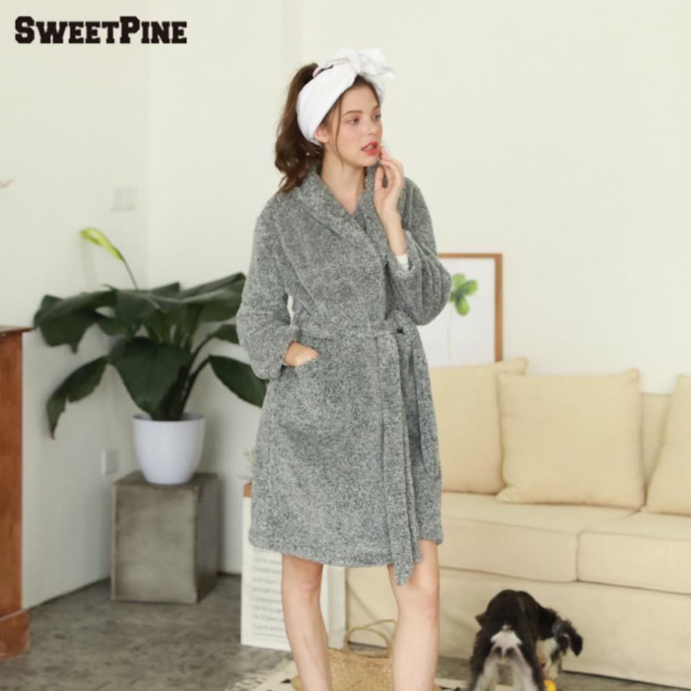2019 New SWEETPINE Women Soft Warm Flannel Bath Robe Nightgown Women S Long  Sleeve Sleepwear Dressing Gown Winter Home Leisure Wear From Sweatcloth 6004509c1