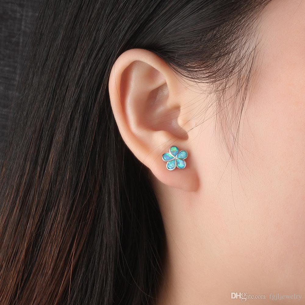 Chinese supplier Charming Beautiful 925 Sterling Silver Blue Fire Opal Girls Flower Stud earring Popular jewelry