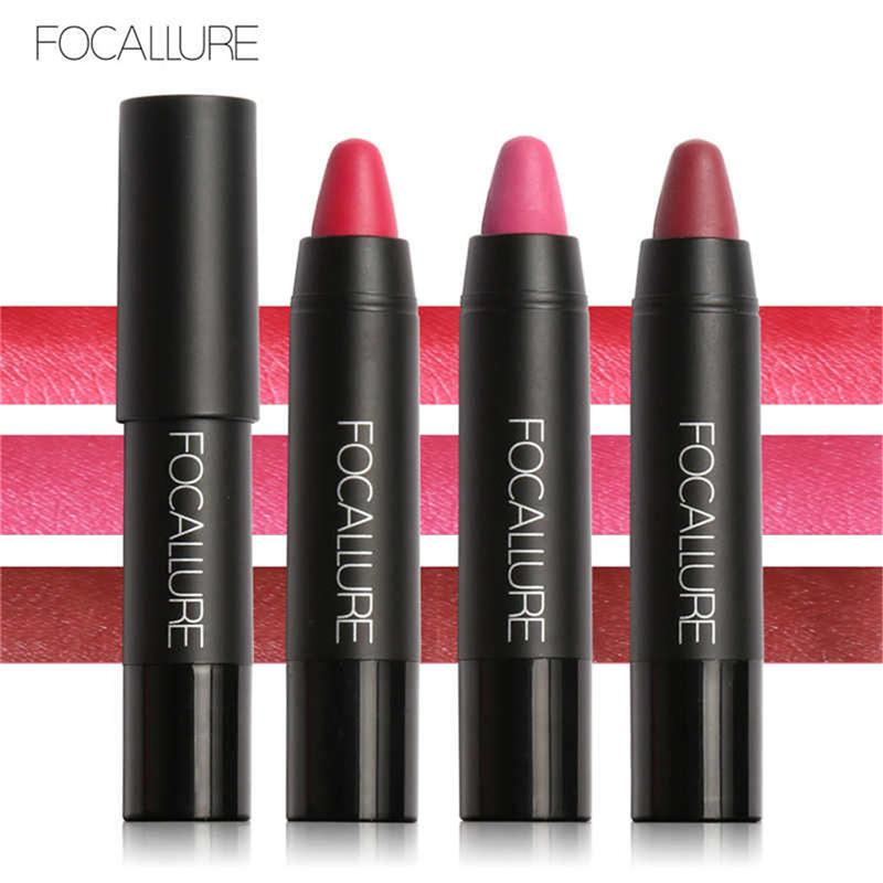 FOCALLURE Brand Matte Lipstick Pen Waterproof Long-lasting Sexy 3pcs/set Velvet Silky Red Lipstick Pencil Lips Makeup Set Wholesale 1226021