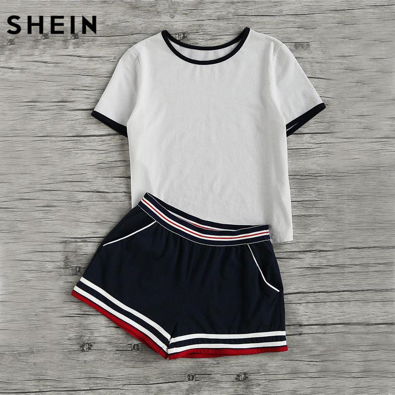 102e3a02bde4 2019 SHEIN Casual Women Two Piece Outfits Summer Short Sleeve Round ...