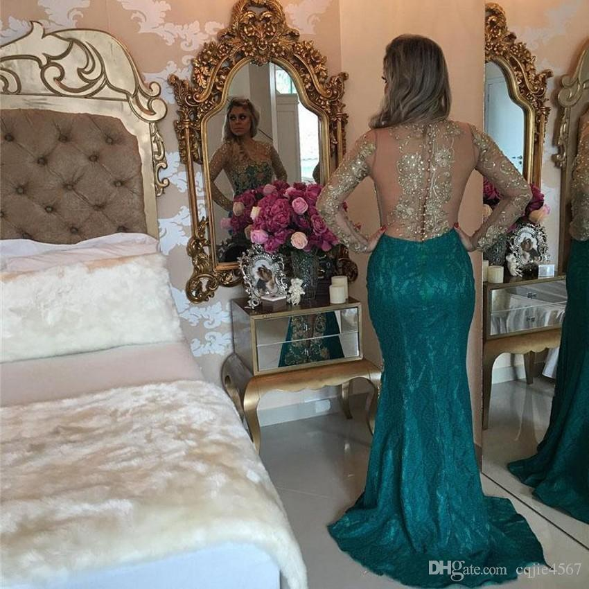 2019 Illusion Langarm Gold Spitze Applique Sexy Transparente Rückseite Split Party Wear Formale Abendkleid Vintage Lace Mermaid Abendkleid