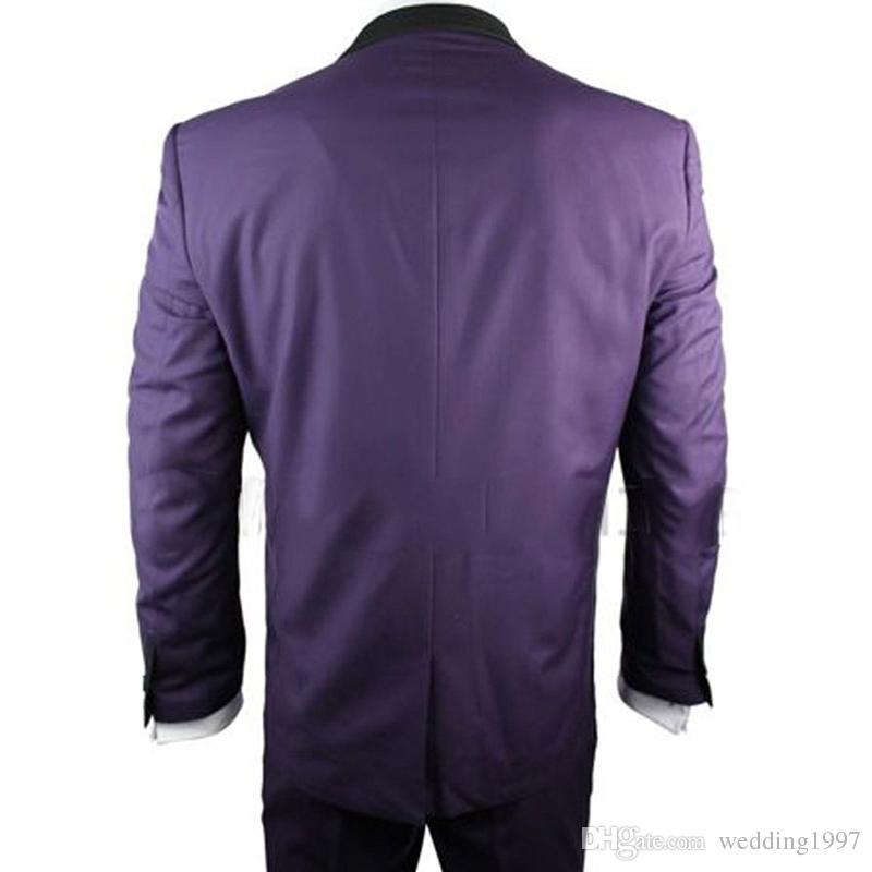 Purple Formale Männer Anzüge Drei Stück Jacke Hosen Weste Nach Maß Eine Taste Hochzeit Bräutigam Smoking 2018 Besten Männer Anzug