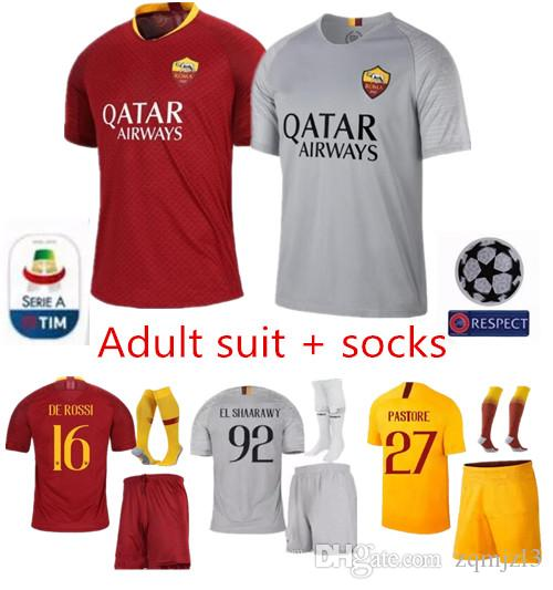 5e1467f7663 2019 18 19 ROMA Adult Kit Soccer Jersey HOME AWAY DZEKO NZONZO EL SHAARAWY  2018 CHAMPIONS LEAGUE Third Yellow Men FOOTBALL SHHIRTS From Zqmjzl3, ...