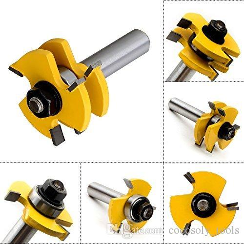 Tongue and Groove Set, Router Bit Set, Wood Door Flooring 3 Teeth Adjustable , 1/2 Inch Shank T Shape Wood Milling Cutter Woodworking Tool,