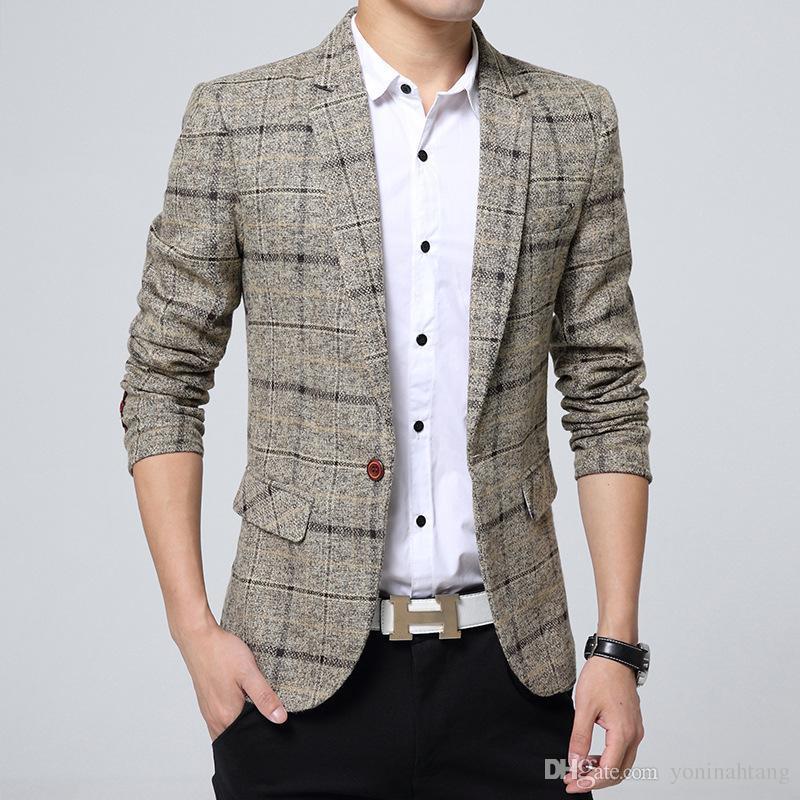 77887d037c6 Wholesale Men 2018 Knitting Plaid Suit Fashion Single Button Casual ...