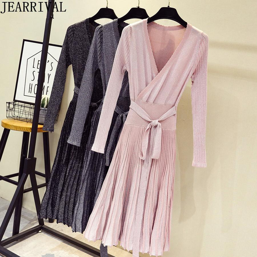 2019 2018 Winter Women Pleated Sweater Dress Fashion Long Sleeve V Neck  Lace Up Lurex Elegant Knitted Dress Work Office Vestidos From Salom a914d9cbc
