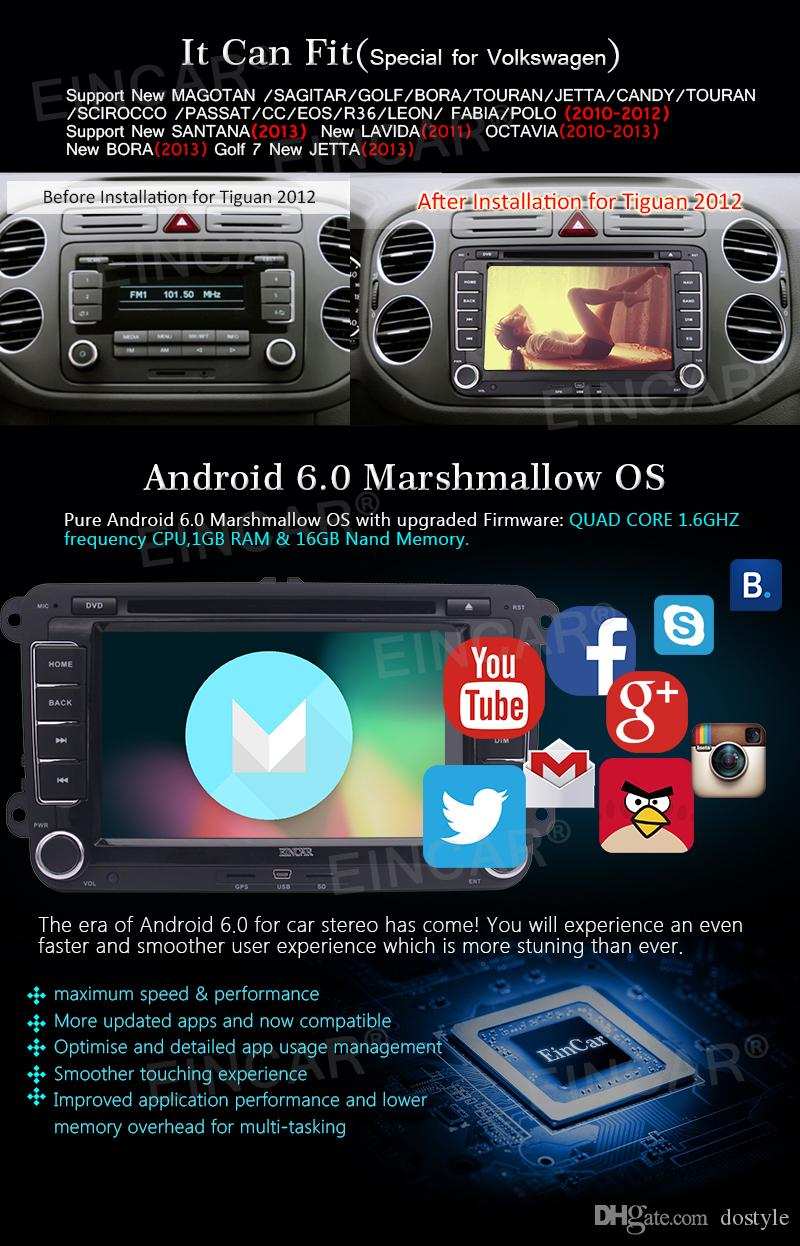Android 6.0 Quad Core Car headunit Stereo car DVD GPS navigation For VW Volkswagen Golf Sharan Jetta Skoda polo Passat caddy Octavia